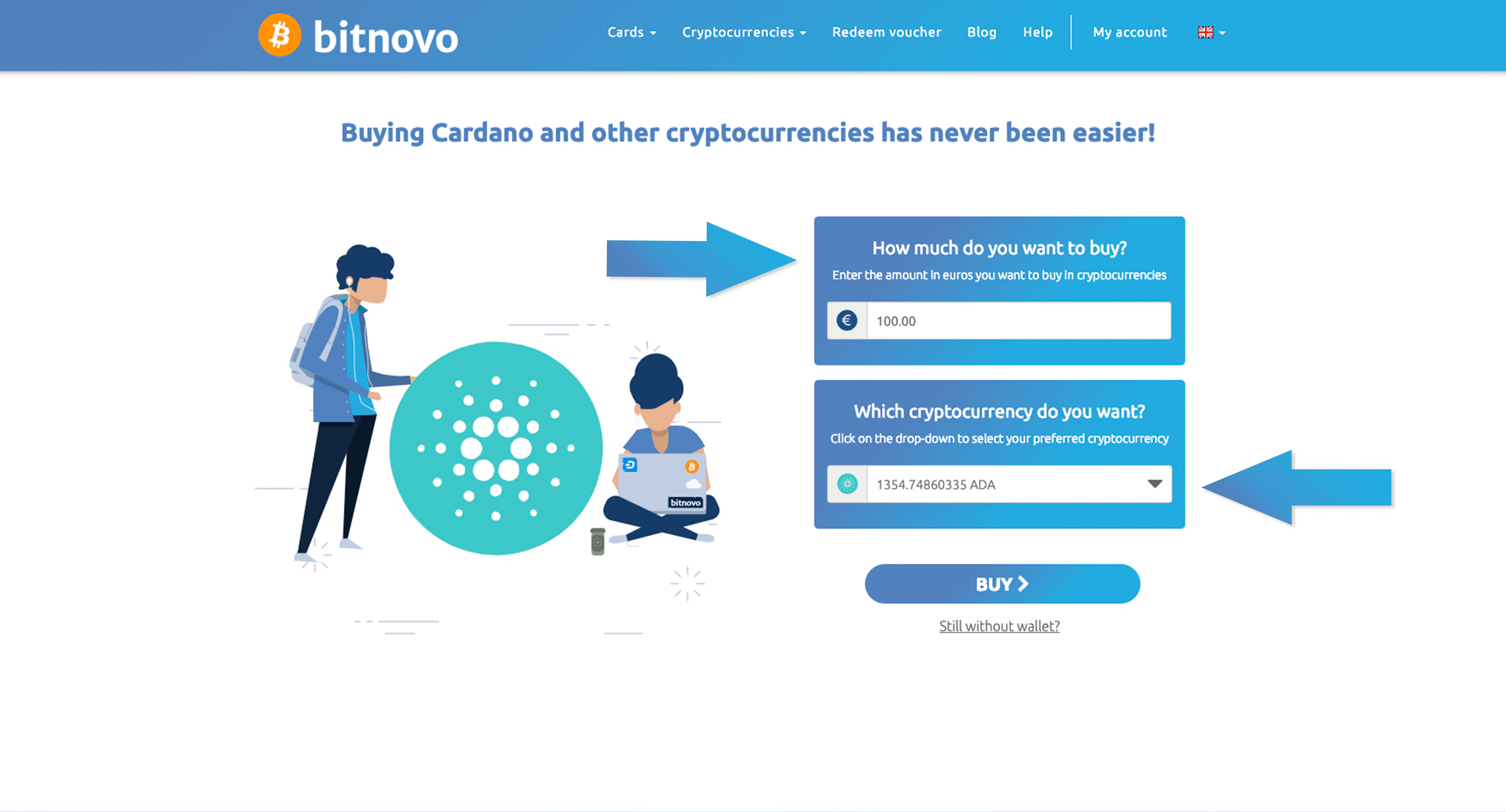 How many cardanos cryptocurrency are available to buy