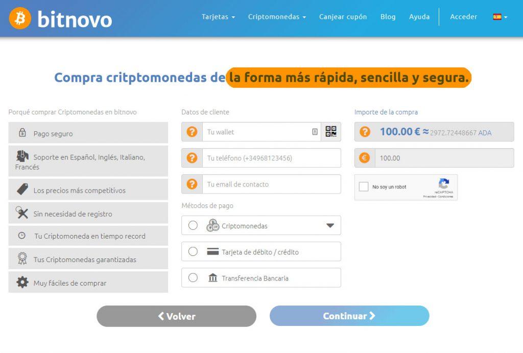 Comprar Cardano cripto online