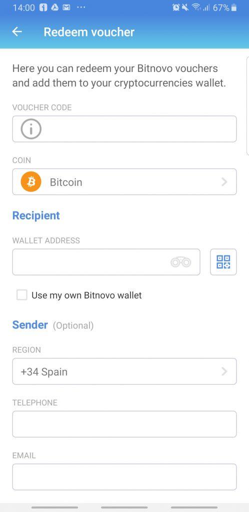 Captura de pantalla canjear cupón Bitnovo