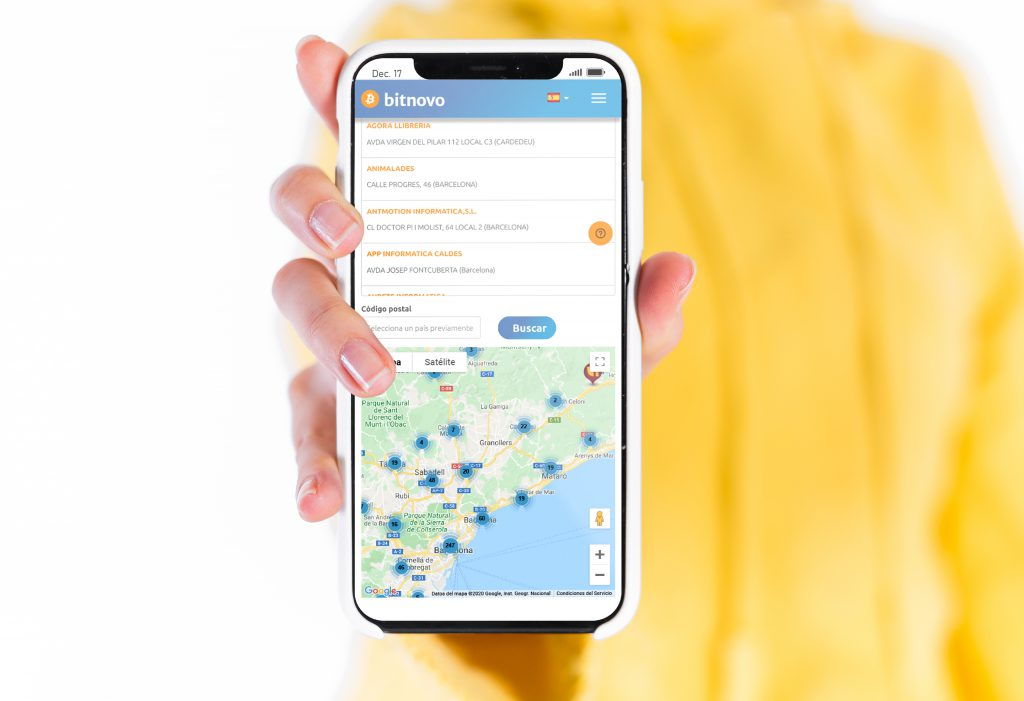 mapa puntos de venta Bitnovo