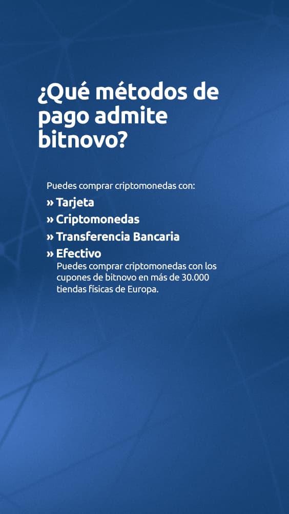 que metodos de pago admite Bitnovo