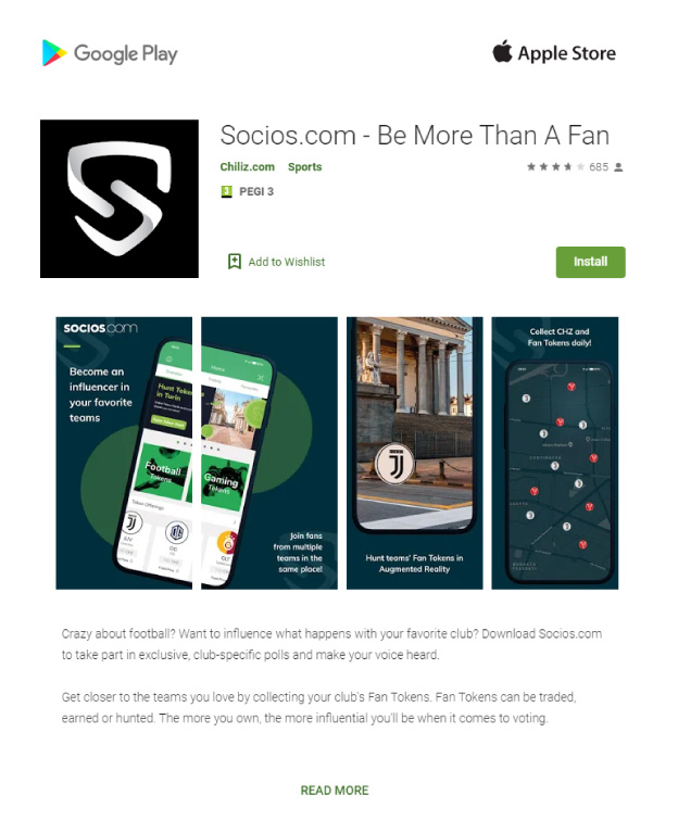 socioscom app for football token Bitnovo